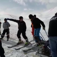 Watch: Motorbike and wheelbarrow used to create makeshift ski lift