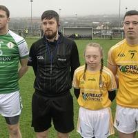Scór winner Zara McCavigan takes to the pitch as Antrim mascot