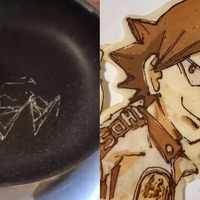 Chef creates detailed artwork using only pancake mixture