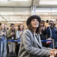 Sara Bareilles serenades commuters on Elton John piano ahead of Waitress launch