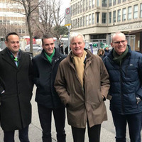 Michel Barnier joins Leo Varadkar and Simon Coveney at rugby match