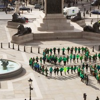 See giant human shamrock formed in Trafalgar Square