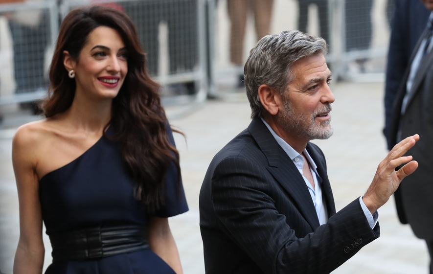 George and Amal Clooney in Edinburgh for charity work