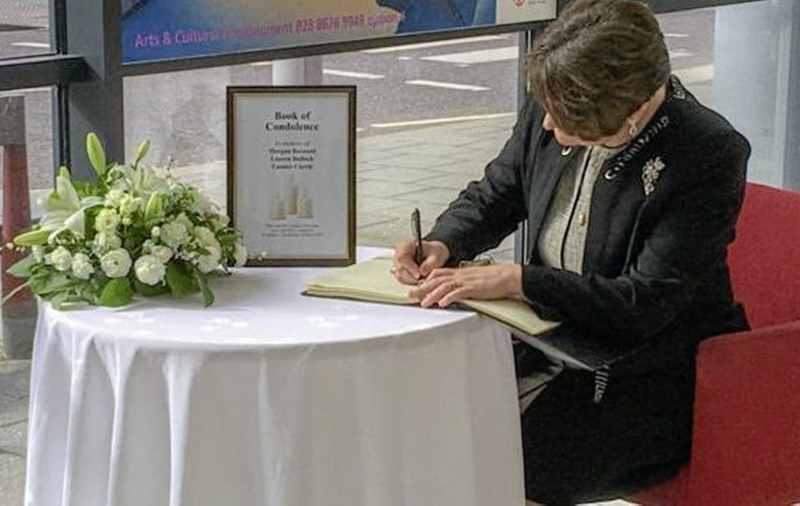 DUP leader Arlene Foster signs book of condolence for Cookstown tragedy victims