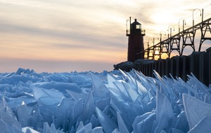 Lake Michigan covered in shards of ice as spring thaws its surface