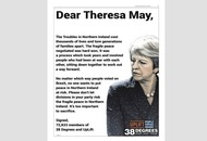 Full-page ad in Theresa May's local paper calls on Tory leader to 'protect the peace'