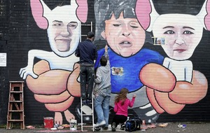Arlene Foster and Michelle O'Neill depicted as Pinky and the Brain in Belfast mural