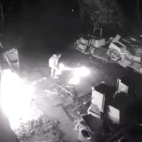 CCTV released in hunt for arsonist who accidentally set himself on fire