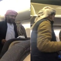 Watch: Men carry three 'well-behaved' falcons onto flight to Dubai