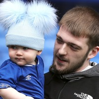 Alfie Evans' brother makes debut appearance at Goodison Park with father Tom