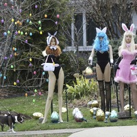Racy Easter display attacked with garden shears