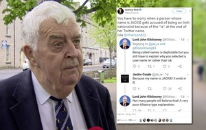 Lord Kilclooney asks Alliance's Jackie Coade why Twitter name ends with 'ie' instead of 'uk'