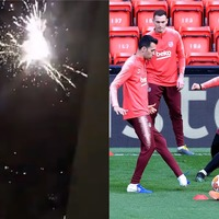 Fireworks let off outside Barcelona hotel before crunch game against Liverpool
