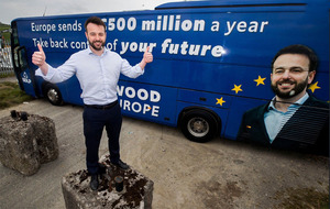 Colum Eastwood's European election bus highlights EU payments to Northern Ireland