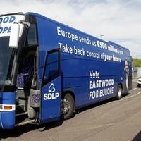 SDLP battle bus ambushes DUP EU election launch in `Fuss at the Bus' part 2