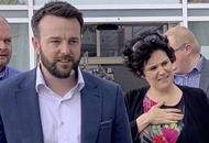 Colum Eastwood canvasses for Euro election with former SDLP Brexit spokeswoman Claire Hanna