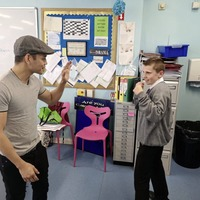 West Belfast pupils get a surprise as world champion boxer Nonito Donaire calls in to class