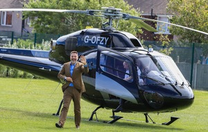 David Walliams arrives by helicopter at school of BGT's singing schoolchildren