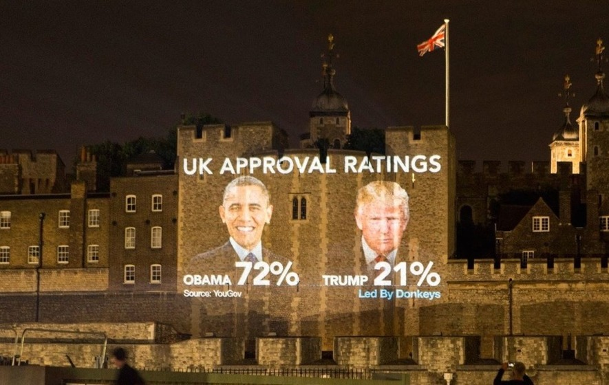 Tower of London projection among protests against Donald Trump's