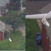 Footage shows hole in roof after electric glider crashes into Connecticut house