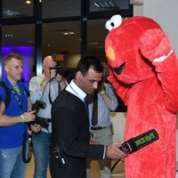 Watch: 'Elmo' candidate searched by security at Peterborough by-election