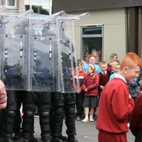 Watch: Schoolchildren test themselves against Garda riot shields
