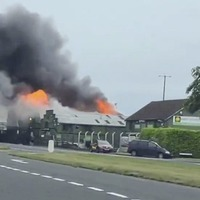 Major Co Antrim fire just yards from petrol station