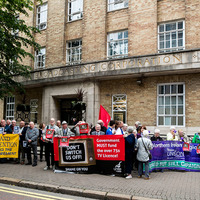 Pensioners protest at BBC's Belfast HQ over free TV licence fee axe