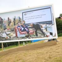Anti-Brexit campaigners take aim at Johnson with Glastonbury billboard