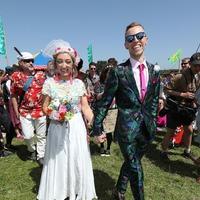 Couple celebrate wedding in front of hundreds at Glastonbury