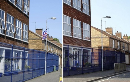 689e705f9aa Union flag removed outside Catholic primary school in east Belfast
