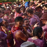 In Pictures: Revellers paint Spanish town red in annual wine battle