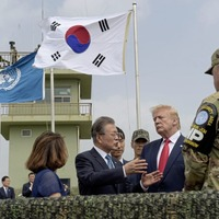 Trump becomes first US president to visit North Korea during meeting with Kim Jong Un