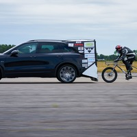 Speed-loving cyclist hopes to break 167mph record on bike attached to Porsche