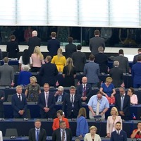 Brexit Party MEPs turn backs on European anthem amid chaos in Strasbourg
