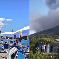 Stromboli volcano erupts as tourists watch on from beach
