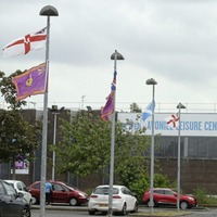 UVF flags placed in Belfast council leisure centre car park