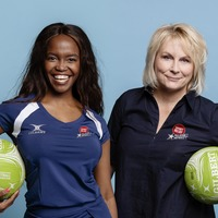 Jennifer Saunders and Oti Mabuse face off on netball court for Sport Relief