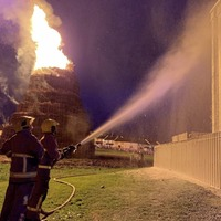 Flats doused in foam at controversial Portadown bonfire