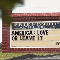 Worshippers shun service after church posts 'America: Love it or leave it' sign