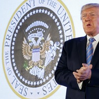Eagle with golf clubs? Doctored seal appears at Trump speech