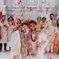 Two grooms go viral after sharing photos of their traditional Hindu wedding