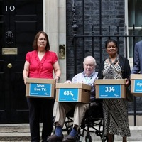 Pensioners hand petition to No 10 urging PM to save free TV licence for over-75s
