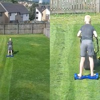 Boy mows lawn on hoverboard to help out unwell mum