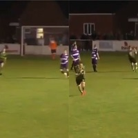 Footballer's stunning goal appears to turn lights out in village hall