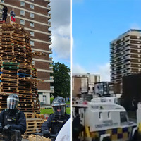 Violence as police move in on New Lodge bonfire