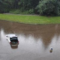 Man filmed cycling through flood as rain causes travel problems in Edinburgh