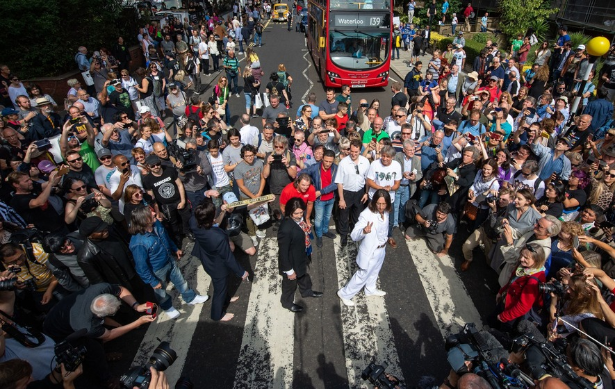 Hundreds of Beatles fans flock to Abbey Road on album photo's 50th