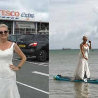 Bride goes paddleboarding in wedding dress – and plans to wear it for a year