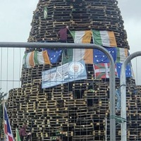 Picture of Martin McGuinness placed on loyalist bonfire